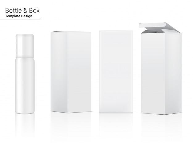 Cosmético realista de frasco de spray e caixa para ilustração de produto de skincare. cuidados de saúde e design de conceito médico.