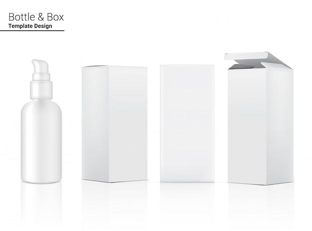 Cosmético realista de garrafa de bomba e caixa para ilustração de produto de skincare. cuidados de saúde e design de conceito médico.