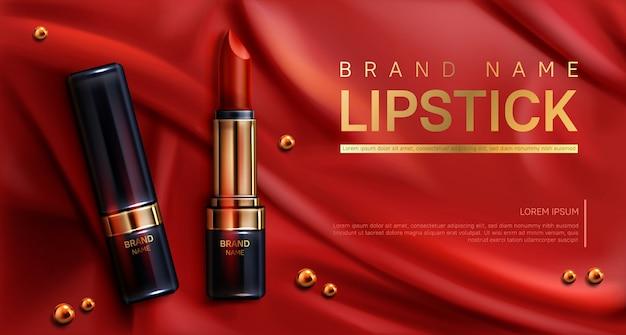 Cosméticos batom compõem banner de produtos de beleza