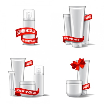 Cosméticos brancos conjunto com fita vermelha e arco, venda. modelo de ilustração. para web, revista ou adv