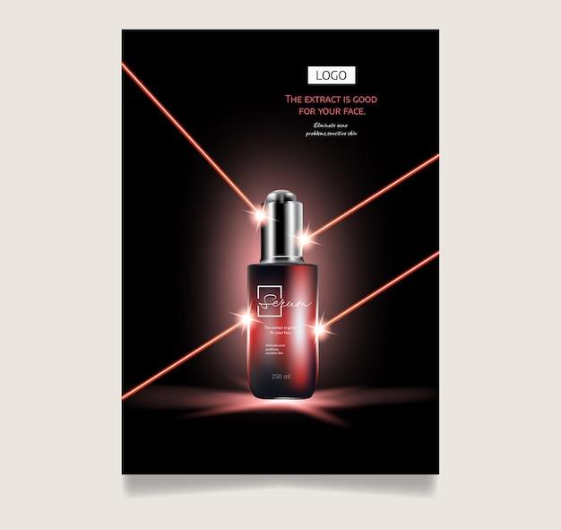 Cosméticos com luz vermelha anúncios de cuidados com a pele embalagens vermelhas conjuntos de partículas de brilho para ilustração 3d