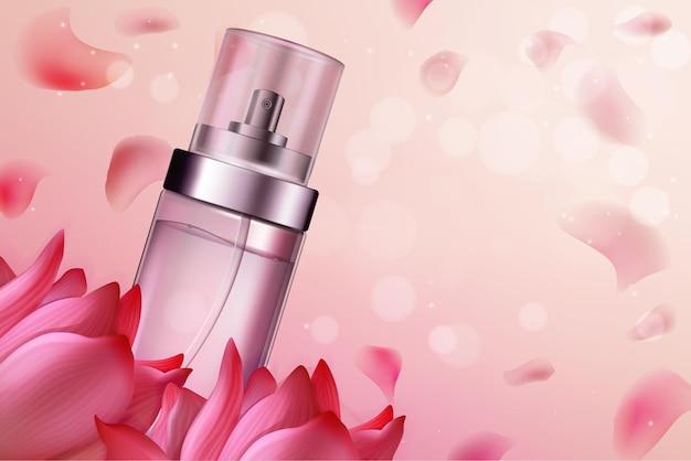 Cosméticos com perfume de flores