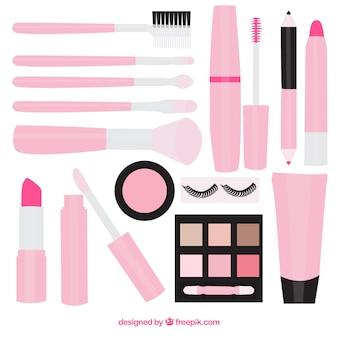 Cosméticos da beleza na cor-de-rosa