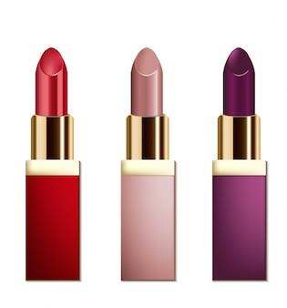 Cosméticos de batom realistas em fundo branco. coleção de cores pastel vermelho e nu. embalagem de cosméticos, anúncio, maquete