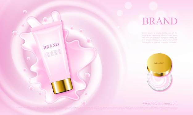 Cosméticos de creme de cuidados da pele rosa com tubo e frasco