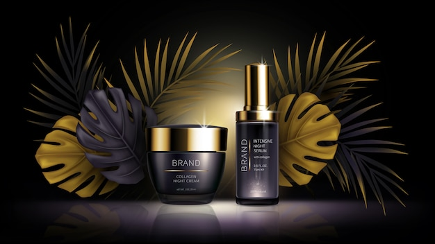 Cosméticos de cuidados da pele verão, vetor tropical