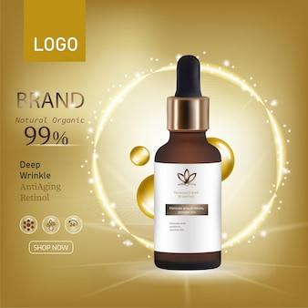 Cosméticos de pêssego ou damasco de fundo vector realista tubo com cosméticos para a pele