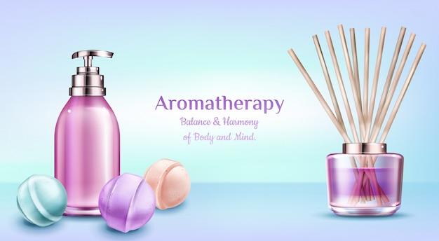Cosméticos de tratamento de spa de aromaterapia.