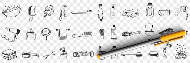 Cosméticos e ferramentas para ilustração de conjunto de doodle de banho