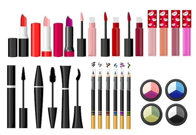 Cosméticos e fundo de moda com objetos de artista de maquiagem: batom, creme, pincel. com lugar para seu texto. modelo. página do site e elemento de aplicativo móvel.