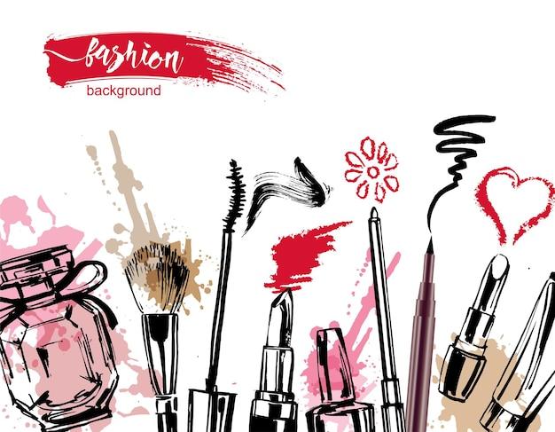 Cosméticos e fundo de moda com objetos de artista de maquiagem vetor de modelo