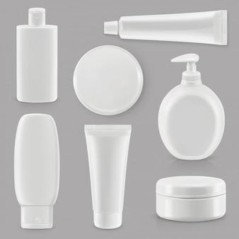 Cosméticos e higiene, embalagens plásticas, maquete de conjunto