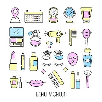 Cosméticos e ícones de beleza no estilo linear moderno - conjunto de salão de beleza para as mulheres.
