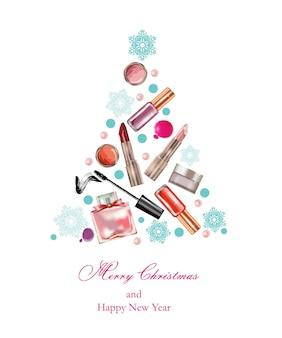 Cosméticos e moda natal e ano novo plano de fundo com um modelo de cosméticos de objetos feitos