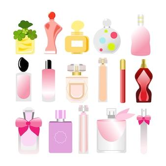 Cosméticos e perfumes femininos. modelo de embalagem de produtos de beleza.