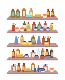 Cosméticos e produtos de beleza em prateleiras de cremes