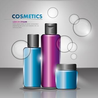 Cosméticos garrafa recipientes produtos beleza bolhas