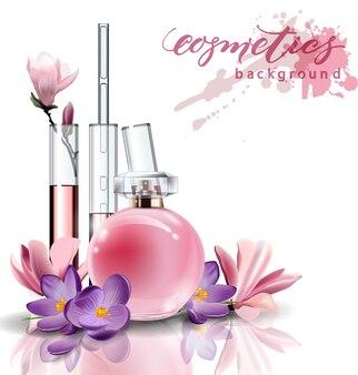 Cosméticos naturais. perfume. extrato de flor in vitro. cosméticos naturais. frasco de perfume feminino rosa. extrato de flor in vitro. . modelo de vetor
