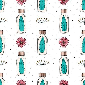 Cosméticos orgânicos doodle padrão sem emenda de mão desenhada linha arte