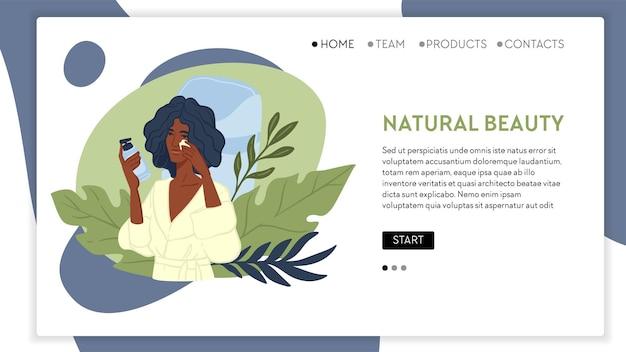 Cosméticos orgânicos e produtos de beleza para mulheres. cuidados com a pele e tratamento para senhoras. menina com roupão aplicando creme, olhando para os espelhos. modelo de destino de site ou página da web, vetor em estilo simples