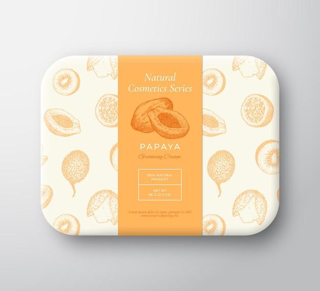 Cosméticos para banho de mamão pacote caixa vetor abstrato embrulhado recipiente de papel com embalagem de tampa de rótulo ...