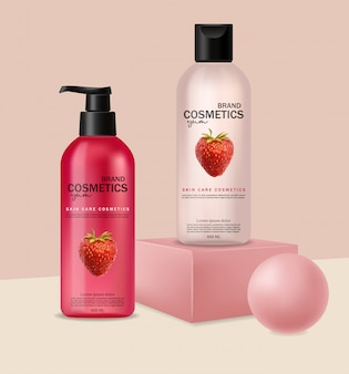 Cosméticos realistas com morango, cuidados com a pele, cosméticos de verão, formas geométricas, shampoo e condicionador, embalagem de garrafa rosa
