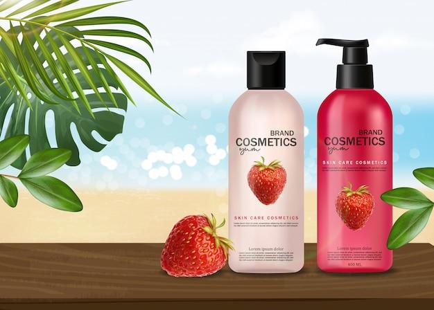 Cosméticos realistas com morango, cuidados com a pele, cosméticos de verão, shampoo e condicionador, embalagem de garrafa rosa 3d, líquido de morango, design rosa, banner de mar, vista para o mar