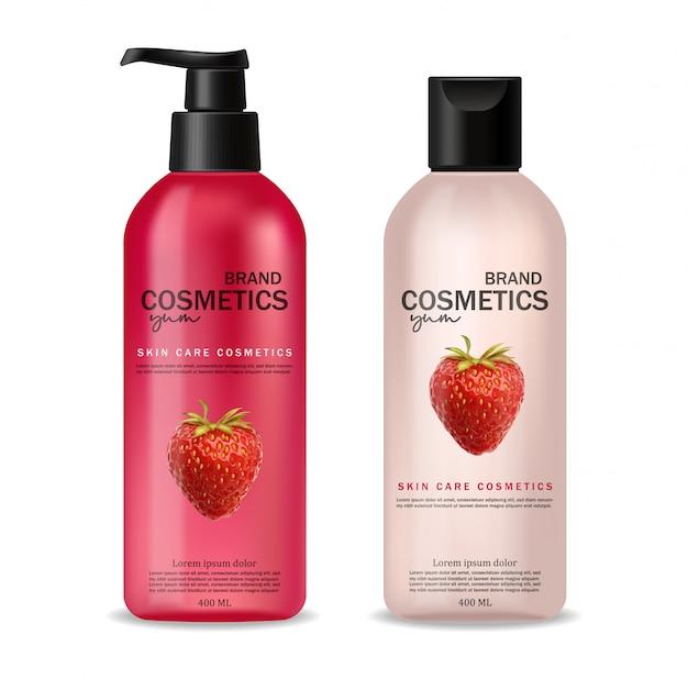 Cosméticos realistas com morango, cuidados com a pele, cosméticos de verão, shampoo e condicionador, embalagem de garrafa rosa