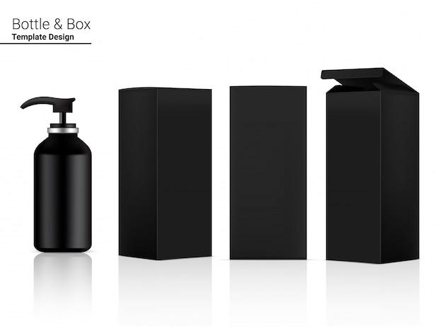 Cosméticos realistas em branco brilhante garrafa bomba e caixa 3d para skincare e envelhecimento anti-rugas.