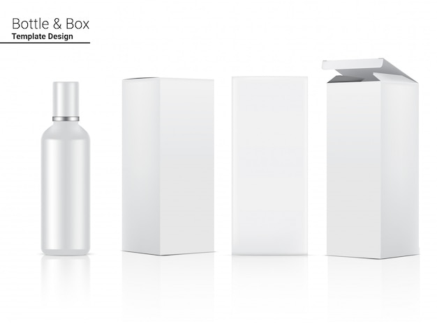 Cosméticos realistas em branco brilhante garrafa e caixa 3d para skincare e envelhecimento anti-rugas.