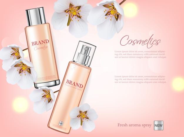 Cosméticos spray de flor de cerejeira