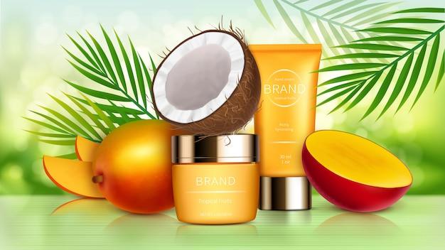 Cosméticos tropicais de manga e coco