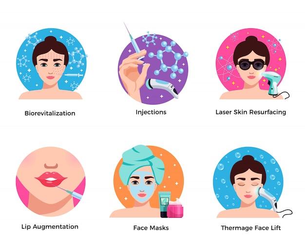 Cosmetologia, seis, apartamento, redondo, ícones, conceito, com, pele laser, resurfacing, face lift, aumento lábio, isolado