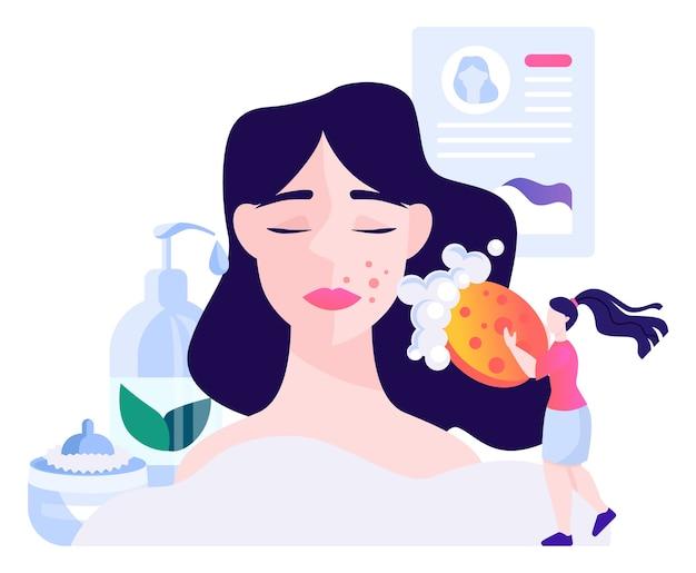 Cosmetologista, limpeza e tratamento de pele. mulher jovem com problemas de pele graves. pele problemática, doença dermatológica.