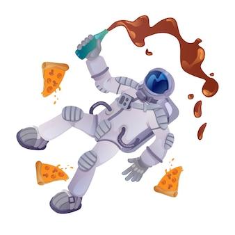 Cosmonauta com ilustração dos desenhos animados de comida. astronauta com garrafa e pedaços de pizza. pronto para usar o modelo de caracteres 2d para comercial, animação, design de impressão. herói cômico isolado