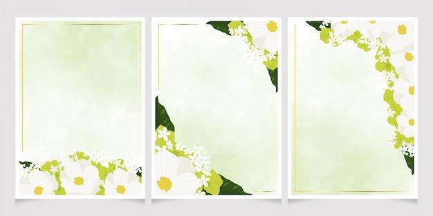 Cosmos branco e verde hortênsia flores com conjunto de modelo de cartão de moldura dourada