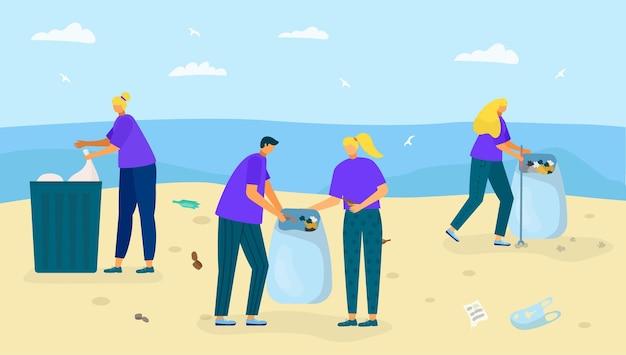 Costa da praia com lixo ilustração vetorial personagem de pessoas coletar resíduos perto do oceano, limpeza natu ...