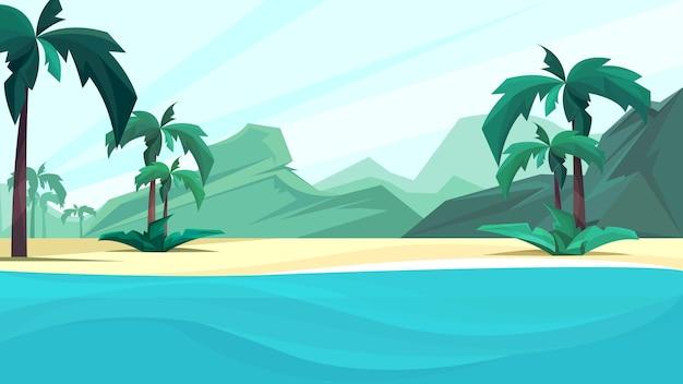 Costa do oceano com palmeiras e montanhas. paisagem de bela natureza.