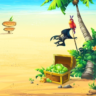 Costa do oceano com uma ilustração de baú
