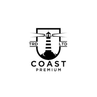 Costa premium em um design de logotipo preto de vetor de escudo