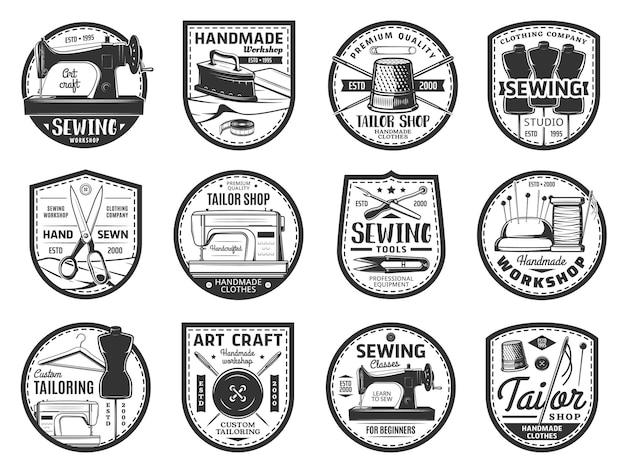 Costura e alfaiate ícones, linhas, agulhas, botões