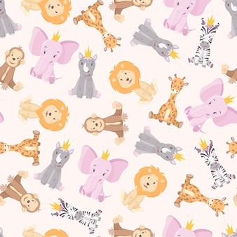 Costura padrão com desenhos animados animais multicoloridos africanos selvagens.