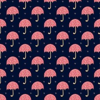 Costura padrão com guarda-chuvas vermelhos brilhantes e corações sobre uma superfície azul. ilustração vetorial