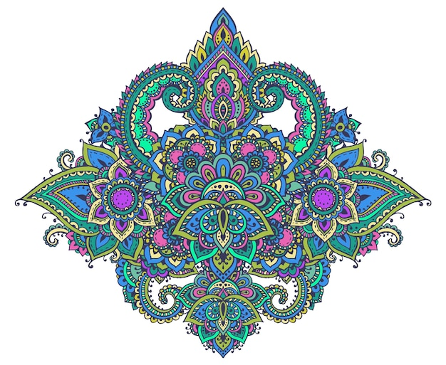 Costura padrão de elementos florais de henna com base em ornamentos asiáticos tradicionais. paisley mehndi