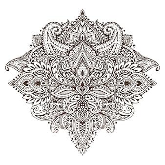 Costura padrão de elementos florais de henna com base em ornamentos asiáticos tradicionais.