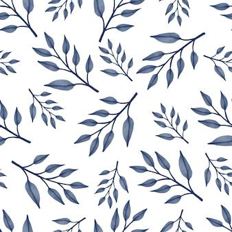 Costura padrão de folhas azuis para design de tecido