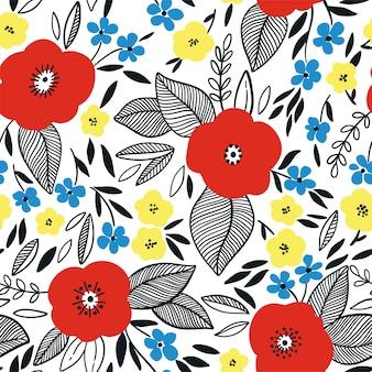Costura padrão floral com flores e folhas.