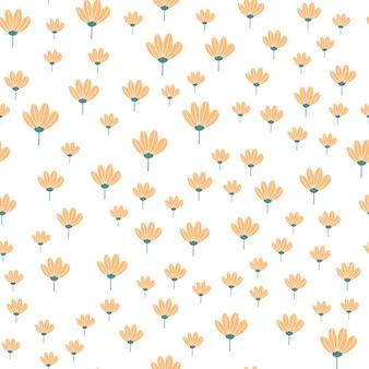 Costura padrão floral em estilo doodle com flores e folhas.