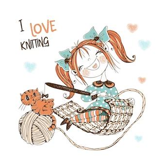 Costureira linda garota com um gato tricô de crochê. vetor.