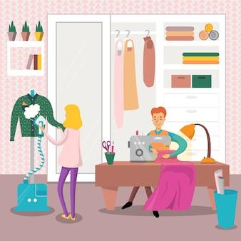 Costureira masculina, roupas de costura por máquina de costura, roupa de passar roupa com ilustração a ferro a vapor, elemento de design para cartaz ou banner